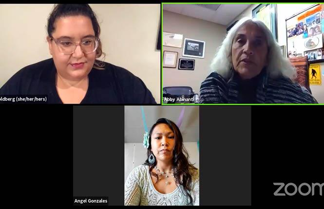 Clockwise from right: Abby Abinanti, chief judge of the Yurok Tribe, joins Angel Gonzalez of Facing Foster Care in Alaska and Ariel Goldberg of Lambda Legal Defense and Education Fund in a Zoom news conference August 27 explaining a federal lawsuit against the Trump administration for rescinding Obama-era collection rules relating to Native American and LGBTQ foster youth. Photo: Screengrab via Zoom