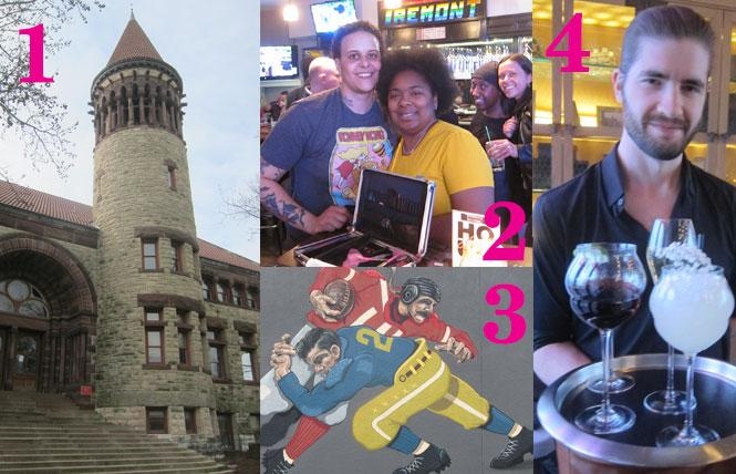 1. Ohio State University campus, 2. Tremont Lounge, 3. Football Mural, 4. Affable server at Goodale Station.