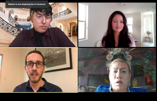 Clockwise from upper left: Michaé De La Cuadra from the TransLatin@ Coalition, Tami Martin from Equality California, Bamby Salcedo from TransLatin@ Coalition, and state Senator Scott Wiener spoke about the need for Governor Gavin Newsom to sign SB 132 during a Zoom call Tuesday. Photo: Screengrab via Zoom