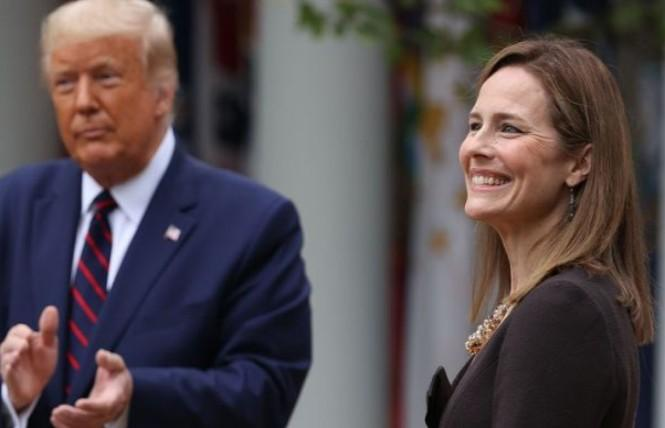 President Donald Trump introduced Judge Amy Coney Barrett as his Supreme Court nominee to replace the late Associate Justice Ruth Bader Ginsburg. Photo: Courtesy Yahoo News