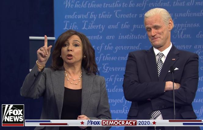 Maya Rudolph as Sen. Kamala Harris and Jim Carrey as former Vice President Joe Biden on 'Saturday Night Live's Oct. 3 season premiere.