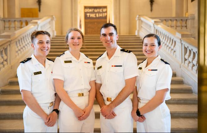 Navy Spectrum officers, from left, MIDN 1/C Tristan Anderson, MIDN 1/C Abby Richardson, MIDN 1/C Lorne Beerman, and MIDN 2/C Quin Ramos