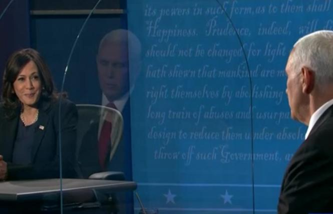 Senator Kamala Harris and Vice President Mike Pence were seated and separated by plexiglass during Wednesday's vice presidential debate. Photo: Screengrab via CNN