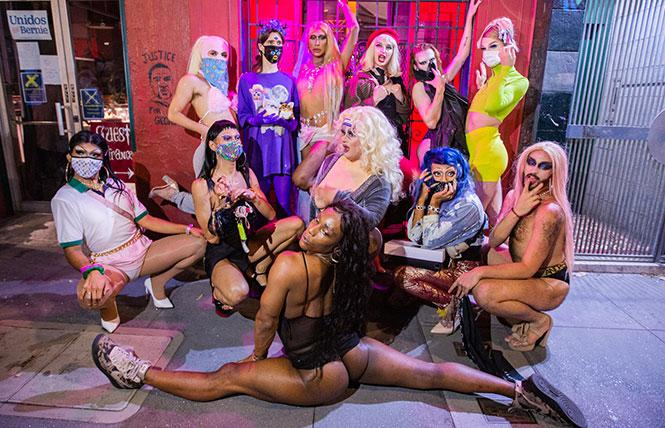 Fishbowl Collective members, from left, Poison Oakland, Cristian Woman, Claude', Dangerous Rose, Allergiene, FKA Supernovagirl, Terra Bull, Veda Superstar, St.Nastine, Avocado Jones, Beverly Chills, and Bussy Dad. Photo: Senny Mau (https://www.sennymau.com/)