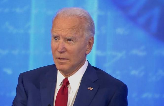 Joe Biden, the Democratic presidential nominee and former vice president, answered questions on LGBTQ rights during a Thursday town hall on ABC. Photo: Screengrab via ABC