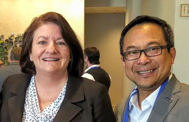Gabriel Quinto, right, shown with state Senate President Pro Tempore Toni Atkins, is the new president of the League of California Cities' LGBTQ Caucus. Photo: Courtesy Facebook