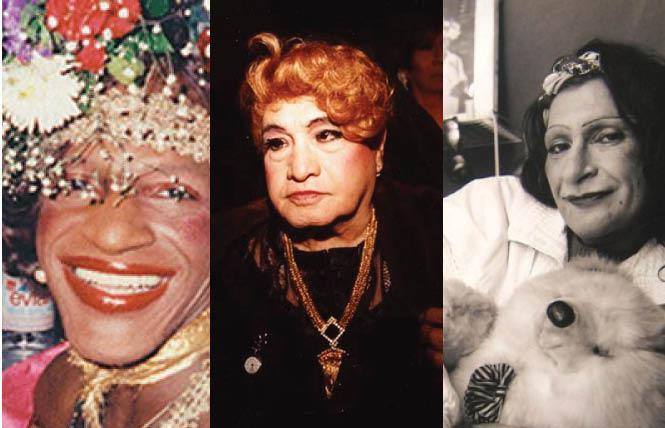 A campaign is seeking postage stamps for drag icons Marsha P. Johnson, José Julio Sarria, and Sylvia Rivera. Photos: Frameline, Rick Gerharter, and the Sylvia Rivera Law Project.