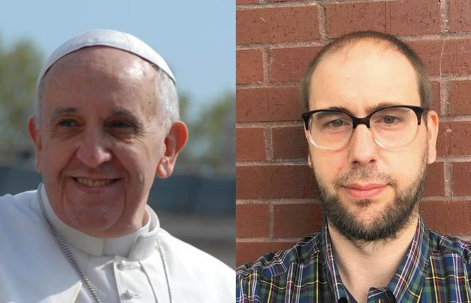 As Pope Francis, left, stated in a new documentary that he's supportive of same-sex civil unions, gay former Jesuit seminarian Benjamin Brenkert has criticized the papacy. Photos: Francis, Bill Wilson; Brenkert, courtesy Benjamin Brenkert