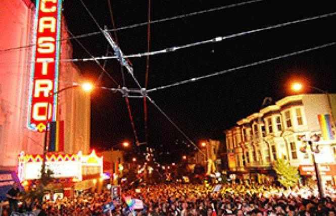 The Castro Theatre sign beamed as revelers celebrated Barack Obama's presidential victory November 4, 2008. Photo: Rick Gerharter