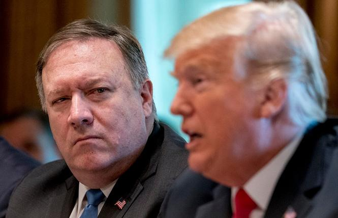 President Donald Trump with Secretary of State Mike Pompeo, left, during a White House cabinet meeting in August 2018. Photo: AP Photo/Andrew Harnik