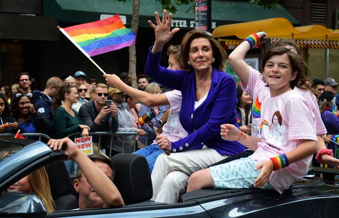 House Speaker Nancy Pelosi, shown in the 2019 San Francisco Pride parade, easily won reelection Tuesday. Photo: Rick Gerharter