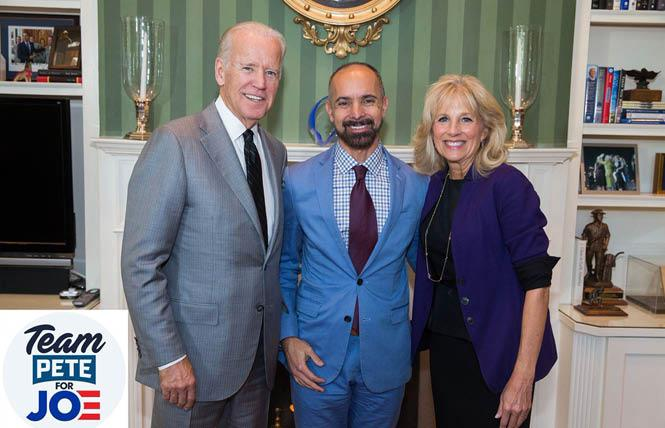 Gay West Sacramento Mayor Christopher Cabaldon, flanked by former vice president Joe Biden and his wife, Jill Biden, has a slight edge in his reelection bid. Photo: courtesy Christopher Cabaldon