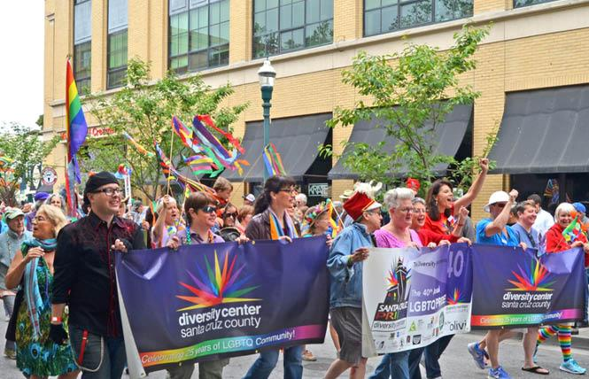 Santa Cruz Diversity Center supporters marched in a Pride parade; the organization is one of several suing the Trump administration over the president's ban on diversity training. Photo: Courtesy the Diversity Center
