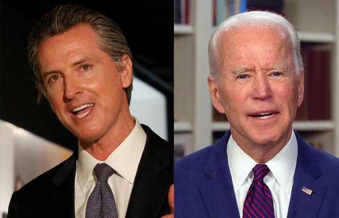 Governor Gavin Newsom and President-elect Joe Biden. Photos: Courtesy AP, CNN