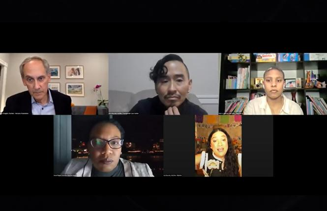 Horizons President Roger Doughty, clockwise from top left, moderated the agency's State of the Movement panel with Kris Hayashi, Kierra Johnson, Isa Noyola, and Imani Rupert-Gordon. Photo: Screengrab via Zoom