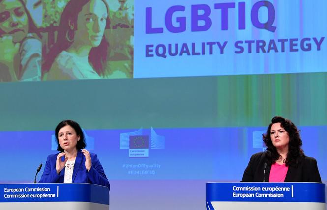 The European Commission announced on November 12 an effort to strengthen the rights of LGBTQ people in response to a wave of anti-LGBTQ discrimination, especially by right-wing governments in Hungary and Poland. Photo: Courtesy John Thys/Pool
