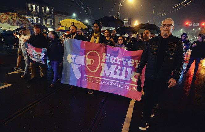 Cleve Jones, right, led the 2018 candlelight march down Market Street to City Hall, which recreated the march held in 1978 following the assassinations of Supervisor Harvey Milk and Mayor George Moscone. Photo: Rick Gerharter