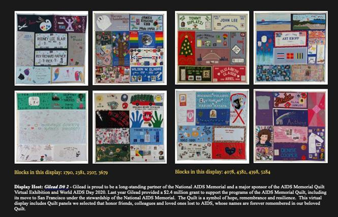 A screenshot of the new virtual display of the AIDS Memorial Quilt. Photo: Courtesy National AIDS Memorial Grove