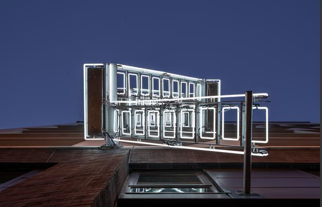 "Ivan Navarro's ""The Ladder,"" at 1066 Market Street, is part of the Illuminate SF Festival of Light. Photo: Henrik Kam"
