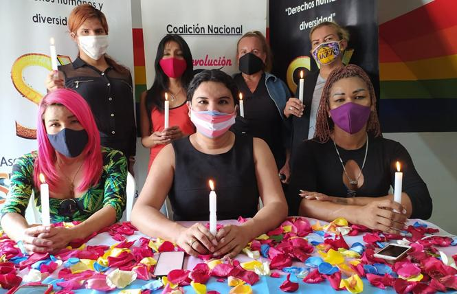Ecuadorian transgender activist Diane Rodriguez, center, and other transgender advocates launched the Museum of Trans Memory November 20. Photo: Courtesy of the Asociacion Silueta X