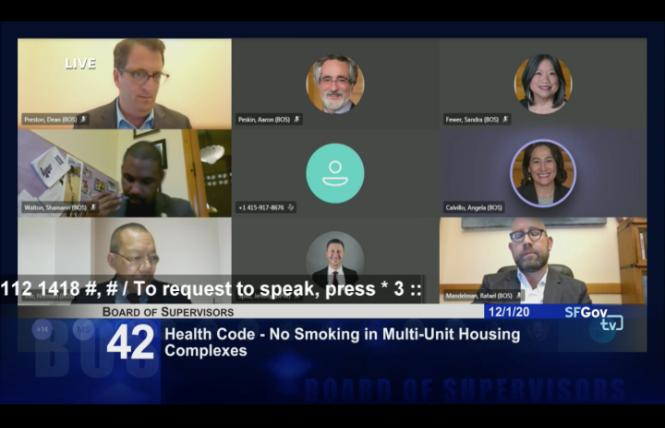 Members of the San Francisco Board of Supervisors debated an apartment smoking ban at their December 1 meeting. Photo: Screengrab via SFGovTV