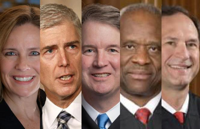 U.S. Supreme Court Justices Amy Coney Barrett, Neil Gorsuch, Brett Kavanaugh, Clarence Thomas, and Samuel Alito were in the majority ruling that New York's pandemic restrictions interfered with religious services. Photos: Barrett, University of Notre Dame; Gorsuch, NBC; Kavanaugh, Supreme Court; Thomas and Alito, public domain