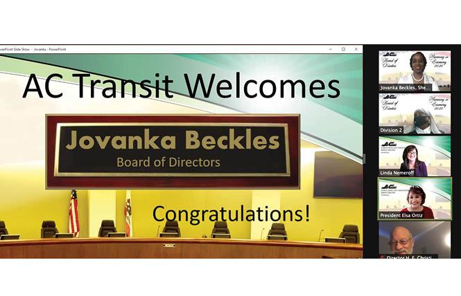 Jovanka Beckles, top right, was sworn in on the AC Transit board December 4. Photo: Screengrab via Zoom