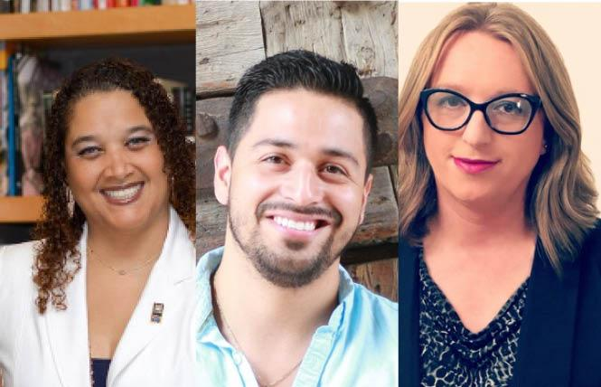 New staff at the Sacramento LGBT Community Center include, from left, Robynne Rose-Haymer, José Emmanuel Vega, and Allison VanKuiken. Photo: Courtesy Sacramento LGBT Community Center