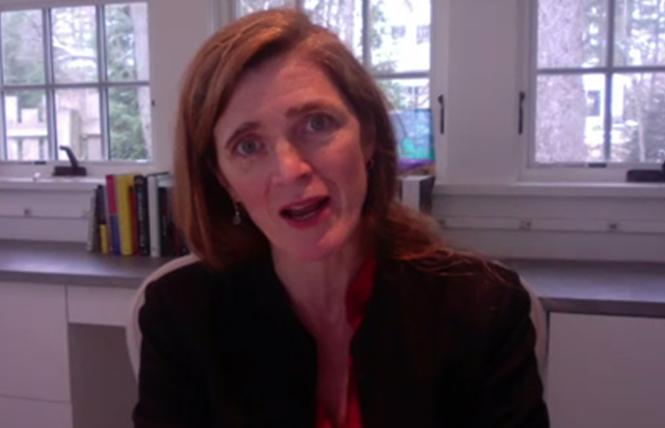 Former U.S. Ambassador to the United Nations Samantha Power announced the 23 companies committed to mentoring LGBTQ asylum seekers and refugees at the first-ever virtual North American Business Summit on LGBTQ Refugees December 8. Photo: Screenshot