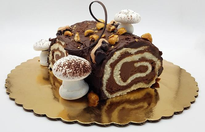 This decadent Yule log is available at Kokak Chocolates. Photo: Courtesy Kokak Chocolates