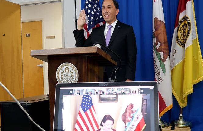Todd Gloria is remotely sworn in as San Diego's new mayor by state Senate President pro Tempore Toni Atkins December 10. Photo: Courtesy San Diego Mayor's Office