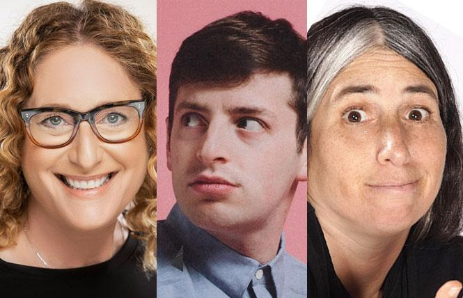 Judy Gold (photo: Justine Ungaro), Alex Edelman and host Lisa Geduldig (photo Kent Taylor)  in this year's Kung Pao Kosher Comedy.