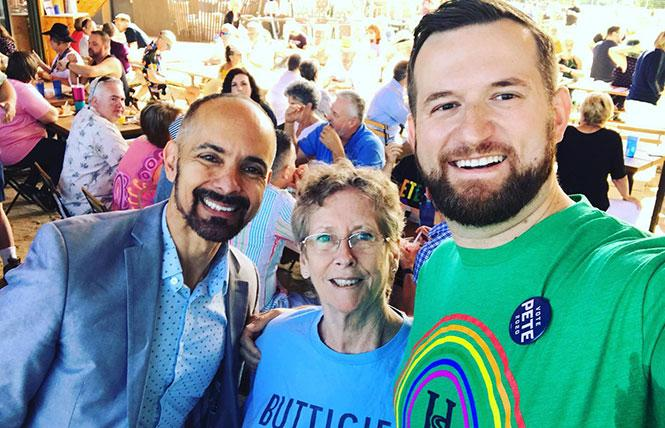 West Sacramento Mayor Christopher Cabaldon, left, joined Jann Dorothy and Sacramento City Councilmember Steve Hansen at a June 2019 event for Pete Buttigieg's presidential campaign. Photo: Courtesy Christopher Cabaldon via Facebook