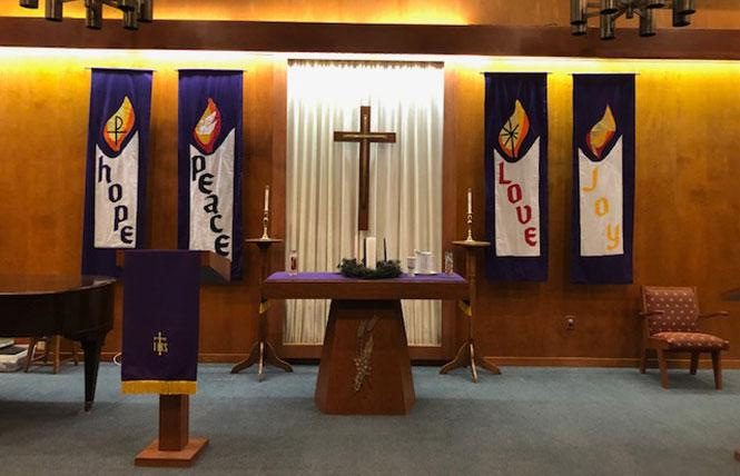 Candles adorn the altar at Island United Church in Foster City. Photo: Courtesy Jim Mitulski