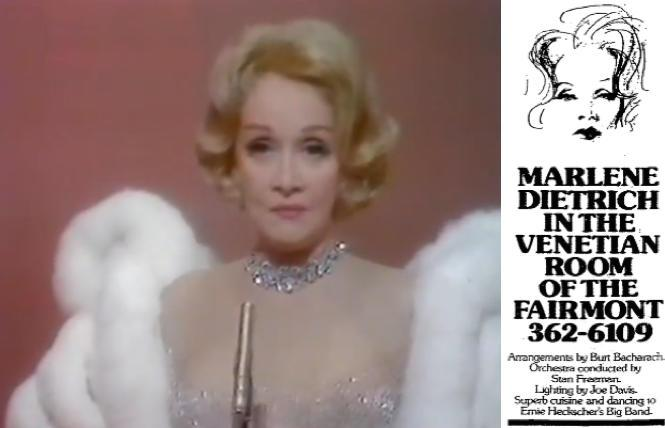 Marlene Dietrich in a London concert in 1972, aired on CBS; 'San Francisco Chronicle' ads for Marlene Dietrich's show in April 1975