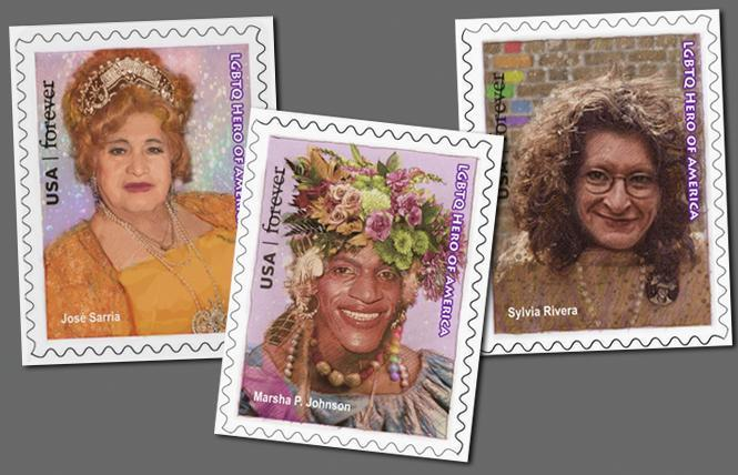 An artist's rendering of proposed postage stamps honoring drag icons José Julio Sarria, Marsha P. Johnson, and Sylvia Rivera. Illustrations: Thomas Haller Buchanan