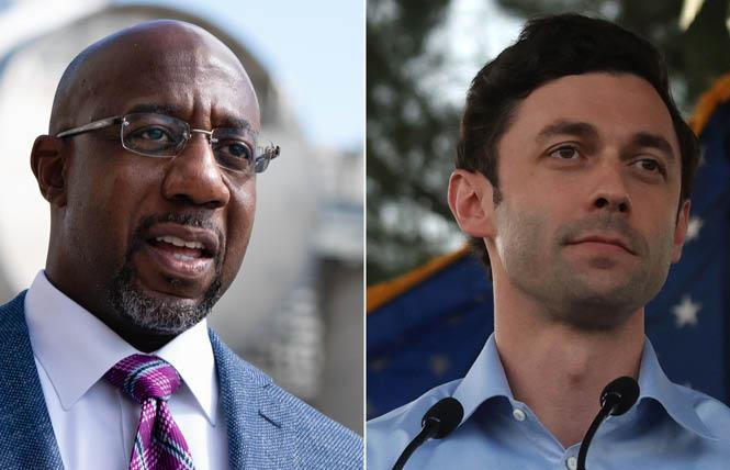 The Reverend Raphael Warnock, left, was declared the winner in his Georgia runoff race while Jon Ossoff is likely to win his election, setting up Democratic control in the U.S. Senate. Photo: Courtesy CNN