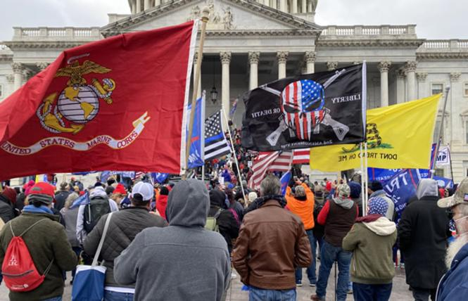 Supporters of President Donald Trump stand in front of the U.S. Capitol on January 6, 2021. Washington Blade photo by Michael K. Lavers