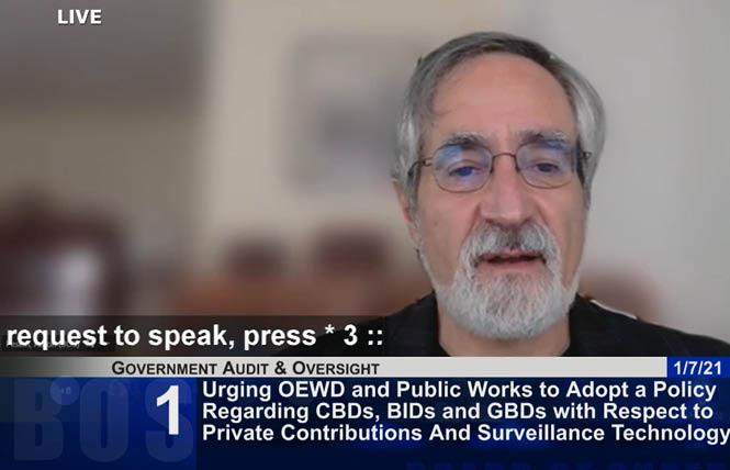 San Francisco Supervisor Aaron Peskin discussed a resolution that would institute rules for community benefits districts and other groups to accept private funding. Photo: Screengrab via SFGovTV