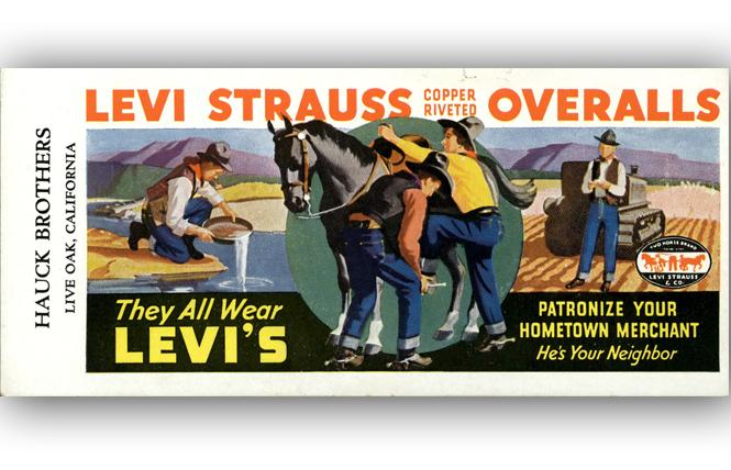 "An image from the Contemporary Jewish Museum of San Francisco's Levi Strauss exhibition: ""Levi Strauss Overalls, They All Wear Levi's"" check blotter, 1930s. Levi Strauss & Co. Archives. Photo: Courtesy CJM"