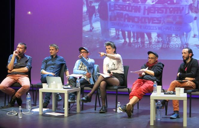 Panelists presenting at a daylong Symposium on the Creation of an LGBTQ Archives Center in 2018 included Collectif Archives LGBTQI members Renaud Chantraine, second from the left, and Sam Bourcier, third from the left, co-sponsored by the Collectif Archives LGBTQI and the City of Paris. Photo: Courtesy Gerard Koskovich.