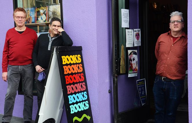 Rick May and Wayne Goodman, left, who joined manager Alvin Orloff, right, in front of Dog Eared Books on Castro Street, are celebrating the fifth anniversary of their Perfectly Queer reading series. Photo: Rick Gerharter