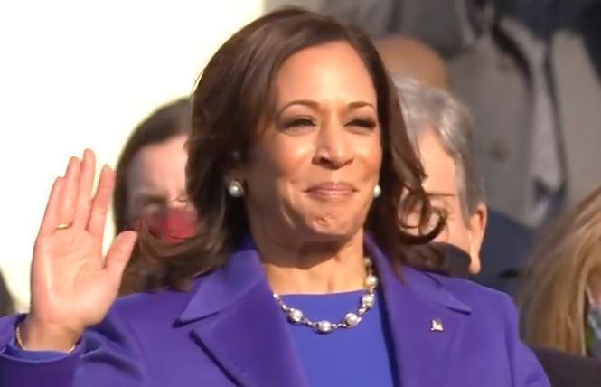 Vice President Kamala Harris takes the oath of office Wednesday, January 20. Photo: Screengrab