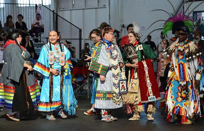 Dancers waited to enter the arena at the 2018 Bay Area American Indian Two-Spirits powwow. Photo: Rick Gerharter