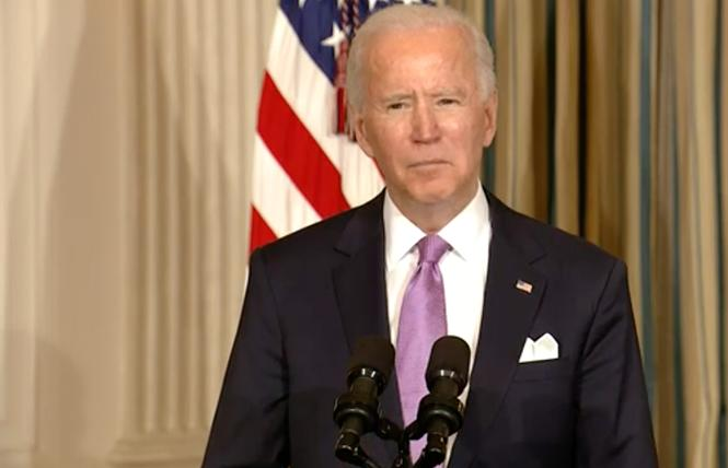 President Joe Biden delivered remarks Tuesday coinciding with signing executive orders aimed at reducing systemic racism. Photo: Screengrab