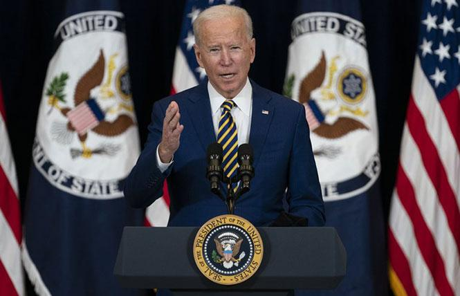 President Joe Biden spoke to United States State Department employees and reporters, announcing plans to place LGBTQ rights at the forefront of U.S. foreign policy. Photo: AP