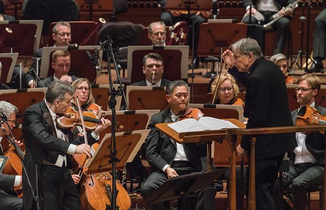San Francisco Symphony and Michael Tilson Thomas (music director laureate and conductor) at the SFS Media recording at Davies Symphony Hall. photo Brandon Patoc
