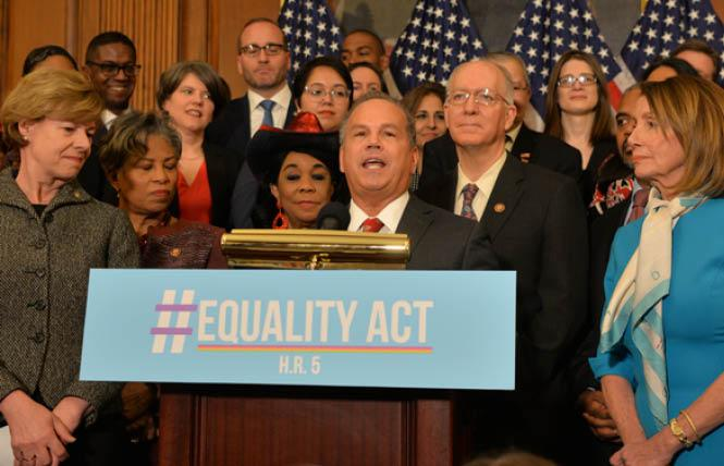 Gay Congressman David Cicilline (D-Rhode Island) spoke when the Equality Act was introduced in 2019. Washington Blade file photo by Michael Key)