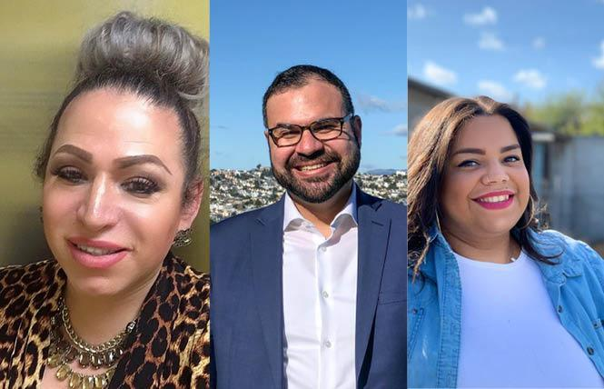 Three LGBTQ people are seeking to join the San Francisco Immigrant Rights Commission: Jessy Ruiz Navarro, left, who currently sits on it; and Luis Zamora and Lucia Obregon Matzer. Photos: Ruiz, courtesy immigrant rights commission Zamora and Matzer, courtesy Facebook