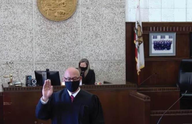 Keith Fong was sworn in as an Alameda County Superior Court judge March 1. Photo: Screengrab